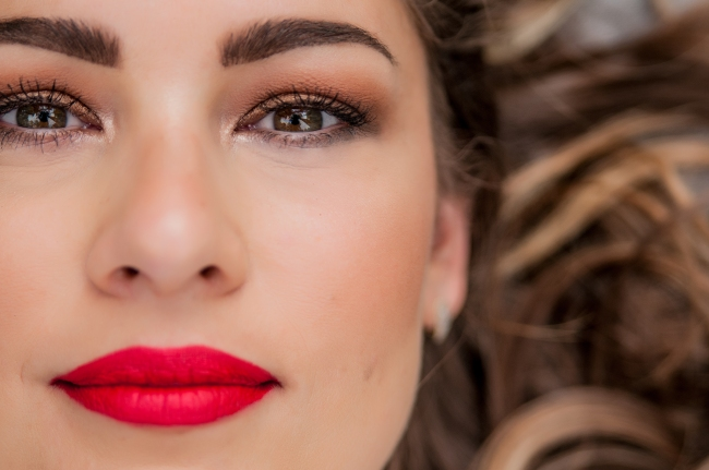 Beauty Woman Portrait. Professional Makeup for Brunette with gre